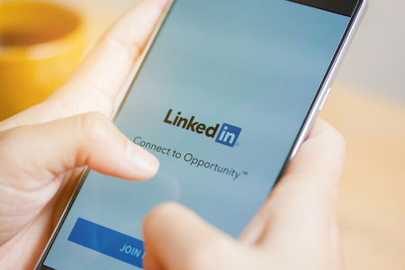 Sakon Nakhon, THAILAND -August 1,2017:LinkedIn is a social network for search and establishment of business contacts. It is founded in 2002.