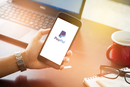 paypal: Sakon Nakhon, THAILAND -August 1,2017:PayPal the largest operator of electronic money it was founded in 1998. PayPal most popular way of reception and sending Internet of payments at the eBay auction. Editorial