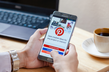 Sakon Nakhon, THAILAND -August 1,2017:Samsung note5 with social Internet service Pinterest on the screen. Pinterest is an online pinboard that allows people to pin their interesting things.