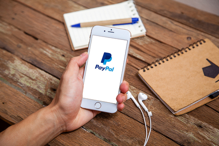 Sakon Nakhon, THAILAND -August 1,2017:PayPal the largest operator of electronic money it was founded in 1998. PayPal most popular way of reception and sending Internet of payments at the eBay auction. Sajtókép