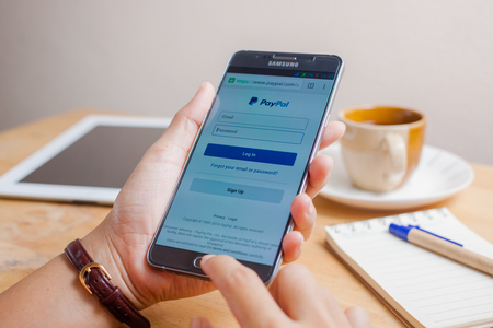 Bangkok, Thailand - August 8,2016: PayPal the largest operator of electronic money it was founded in 1998. PayPal most popular way of reception and sending Internet of payments at the eBay auction. Editorial