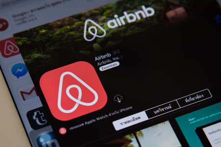 BANGKOK,THAILAND - May 28,2016:IPad open Airbnb application. Airbnb is a website for people to list, find, and rent lodging.