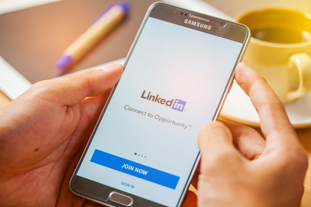 Bangkok, Thailand - December 2,2016: LinkedIn application on the screen. LinkedIn is a business-oriented social networking service.