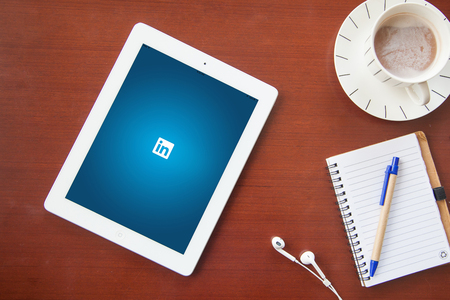 Bangkok, Thailand - June 17.2016: LinkedIn is a social network for search and establishment of business contacts. It is founded in 2002. Editorial