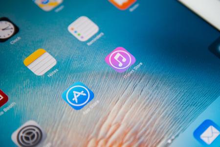 BANGKOK,THAILAND - May 23,20166:  Close-up view of the iTunes icon on an iPad Editorial