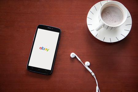 Bangkok,thailand - June 11, 2016: iPhone opened to Ebay homepage. Ebay, an online auction and shopping site, was founded in 1995.