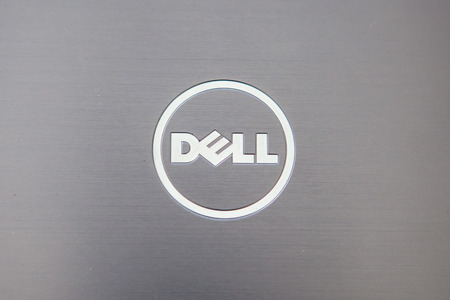 Bangkok, Thailand - May 23,2016: Dell logo made from stainless steel on notebook cover black color, in Bratislava, Slovakia on March 10, 2015 Редакционное