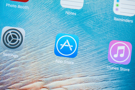 BANGKOK,THAILAND - May 11,2016: A close-up photo of Apple iPhone 5s start screen with apps icons. App Store is a digital distribution service for mobile apps on iOS platform, developed by Apple Inc.