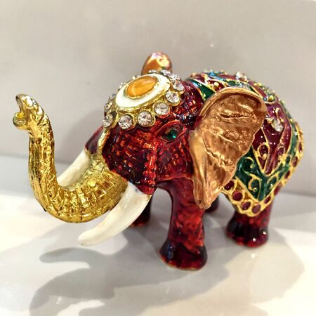 shiny metal: Elephant jewerly Stock Photo