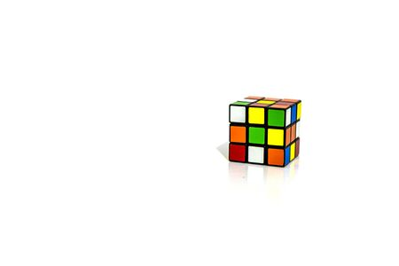 ISRAEL TEL-AVIV 16.11.19: Rubik's cube on the white background. Rubik's Cube invented by a Hungarian architect Erno Rubik in 1974.