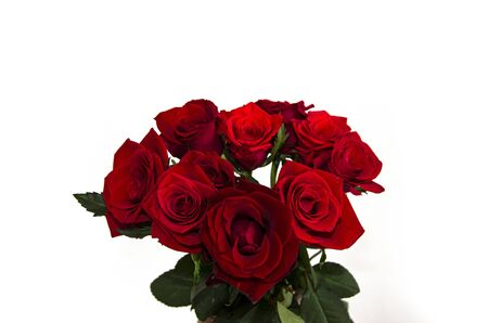 Bouquet of small Dutch red roses in a vase on a white background isolate.