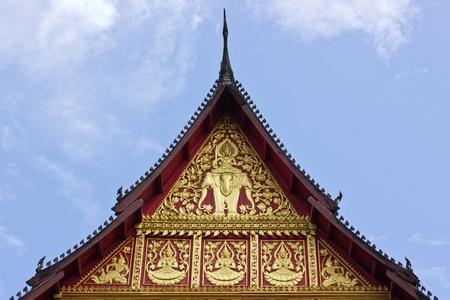 pediment: The pediment of Hor Prakaew, Laos Stock Photo