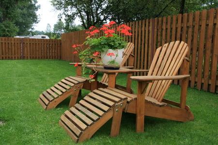 furnishings: Patio furniture on green lawn