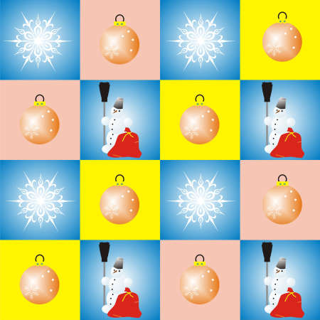 Snowflakes, Snowman and Christmas Balls in vintage colors scheme