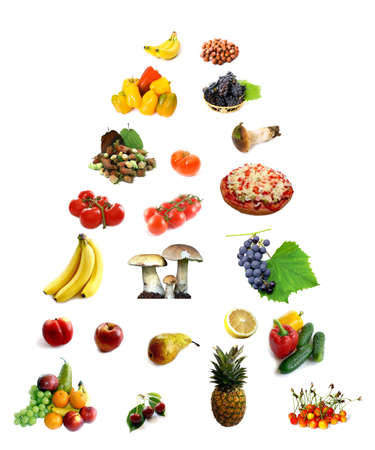 Digital photos composition of food in guide pyramid
