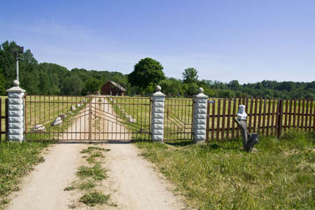 smithery: Spring day! - A farm gate and farm house in the Lithuania, Baltic States