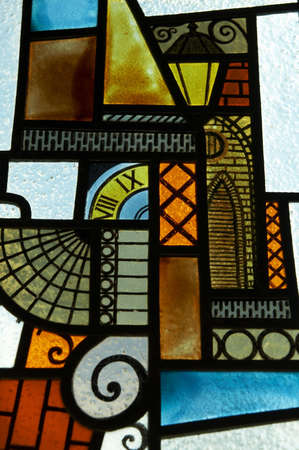vitrage: Fragment of beautiful stained-glass window Stock Photo