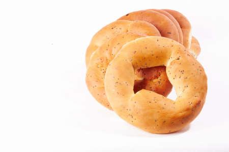 boublik: russian boublik - bread of the circular shape over white