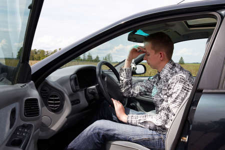 After the driving test young drivers reflect on the errors Stock Photo