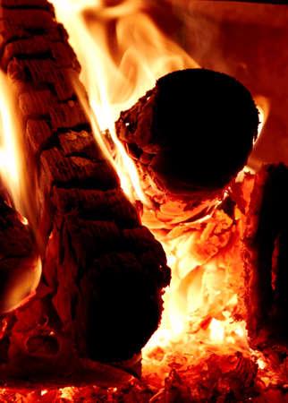 close up image: Wood burning in fireplace. Close up image