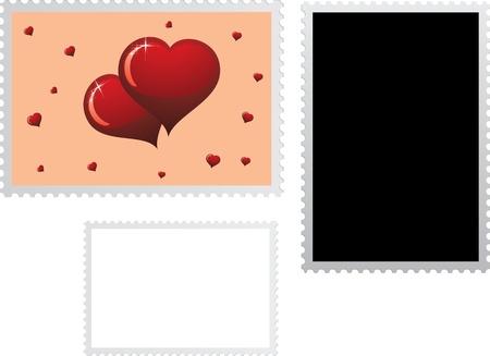 Timbre-poste pour les vacances Saint-Valentin avec deux modèles. Vous pouvez creat votre timbre-poste.