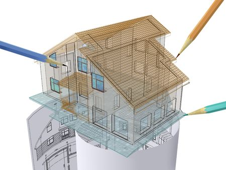 Residential house on architect's drawing. Stock Photo