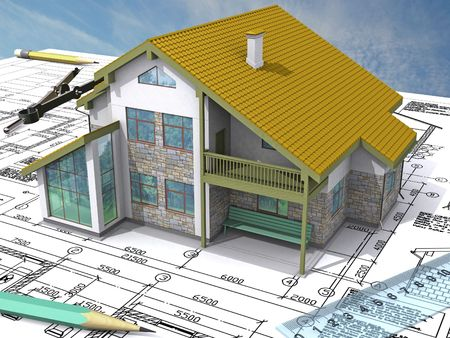 Residential house on architect�s drawing. NW Isometric view.
