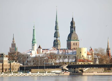 winter palace: View of Riga in the winter. Stock Photo