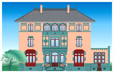 Facade of ancient building. Attached file contain vector image in format -8. Illustration