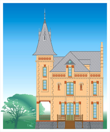 balcony: Facade of ancient building. Attached file contain vector image in format -8. Illustration