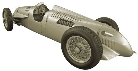 antiquarian: The antiquarian racing car isolated over white Stock Photo