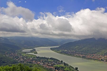 Danube and Nagymaros, Hungary. Panorama from Visegrad.