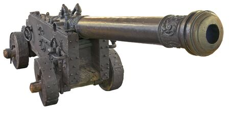 rectification: Ancient Swedish cannon isolated over white with clipping path.