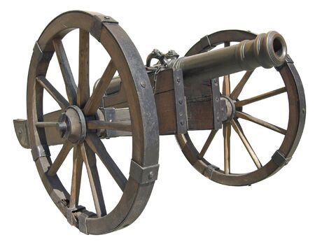 rectification: Ancient Slovak cannon isolated over white with clipping path.