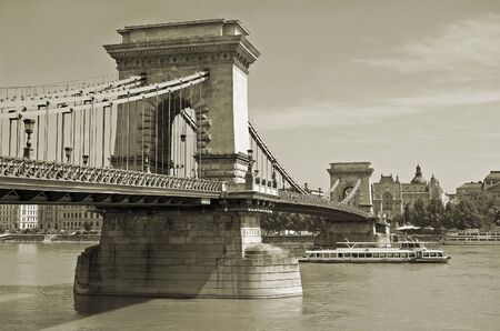 the danube: Budapest Chain Bridge across Danube river.