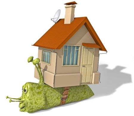 inconvenient: The snail has changed the inconvenient house on more comfortable apartments. Stock Photo