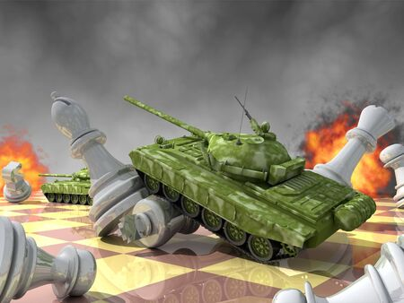 brute: Tanks against chess: brute force against intelligence. Stock Photo