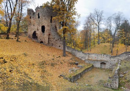 latvia: Ruins of an ancient castle Cesis in the autumn.