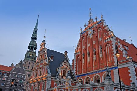 mannerism: Facade and environment of St Peters church in Riga.