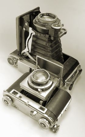 antiquarian: The antiquarian average-format camera and 35-mm camera. Stock Photo