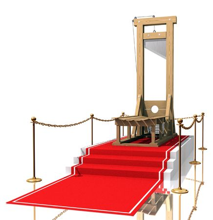 adjudicate: Ceremonial red carpet directing to a guillotine.
