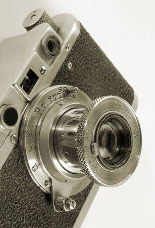 antiquarian: Lens of antiquarian photo camera.