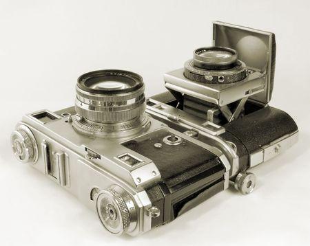 antiquarian: Two antiquarian 35-mm film cameras.