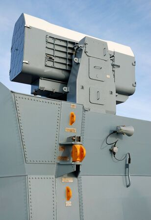Cassete missile system on-board a frigate. photo