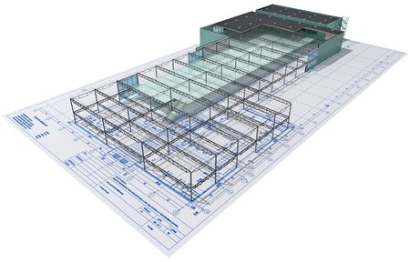 Isometric view the skeleton of an industrial building on architect's drawing.