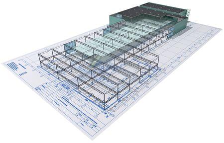 bedrijfshal: Isometrisch aanzicht het skelet van een industrieel gebouw aan architecten tekenen.