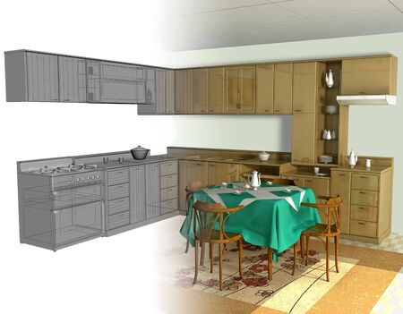 rendered: Abstract view of 3D interior of kitchen. Stock Photo