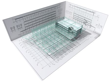 Isometric view the skeleton of an industrial building on architect's drawing. photo