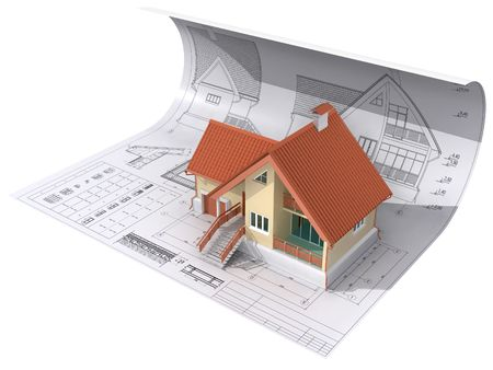 3D isometric view the residential house on architect�s drawing. Background image is my own.