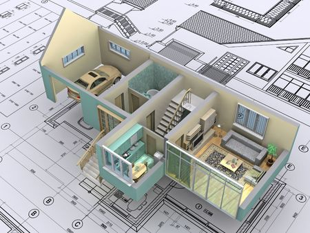 3D isometric view the cut residential house on architect�s drawing. Background image is my own.